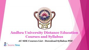 Andhra University Distance Education Courses and Syllabus