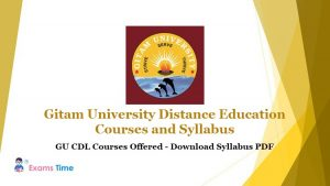 Gitam University Distance Education Courses and Syllabus - GU CDL Courses Offered - Download Syllabus PDF