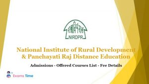 National Institute of Rural Development & Panchayati Raj Distance Education - Admissions - Offered Courses List - Fee Details