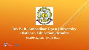 Dr. B. R. Ambedkar Open University Distance Education Results - BRAOU Results - Check Here