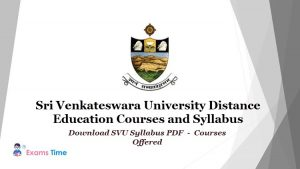 Sri Venkateswara University Distance Education Courses and Syllabus - Download SVU Syllabus PDF - Courses Offered