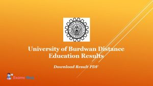 University of Burdwan Distance Education Results