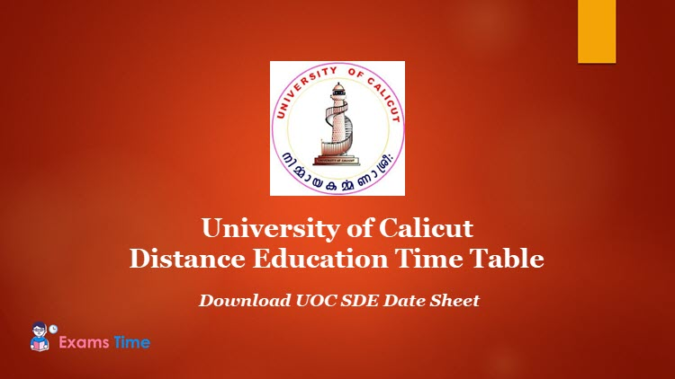 University of Calicut Distance Education Time Table - Download UOC SDE Date Sheet PDF