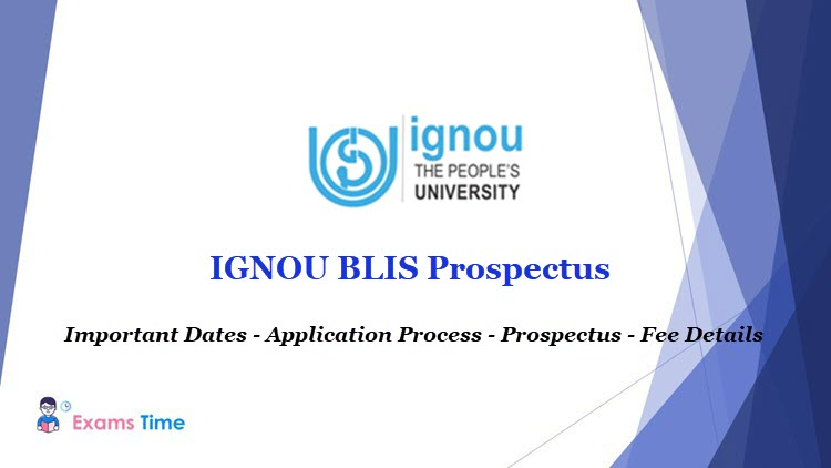 Ignou Blis Prospectus 2019 Bachelor Of Library Information Science Brochure Exams Time